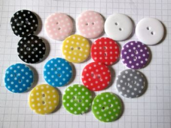 Polka Dot Resin 23mm Buttons  Choice of Colour